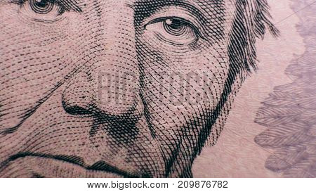Five Dollars Bill Close-up. Five Dollars In Details