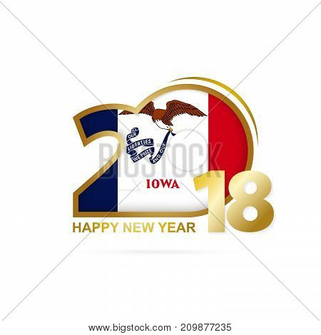 Year 2018 With Iowa Flag Pattern. Happy New Year Design.