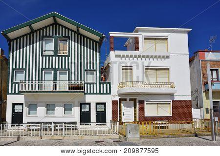 Striped Colored Houses, Costa Nova, Beira Litoral, Portugal, Europe