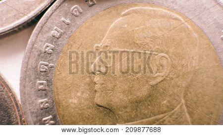 Thailand Baht Close-up.thai Baht In Mettalic Coins
