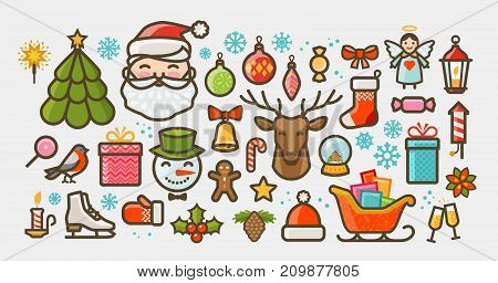 Christmas set of icons or symbols. Xmas concept. Vector