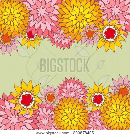Hand-drawn flowers. Beautiful color floral frame. Vector illustration