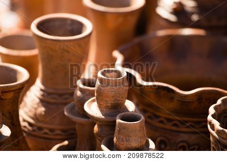 pottery on the table as a background .