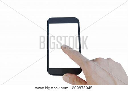 mobile phone with finger pointing on touch screen in white background