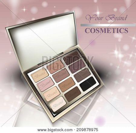 Realistic Cosmetics Set On Sparkling Background. Eye Shadows Nude Pastel Colors Collection. Cosmetic