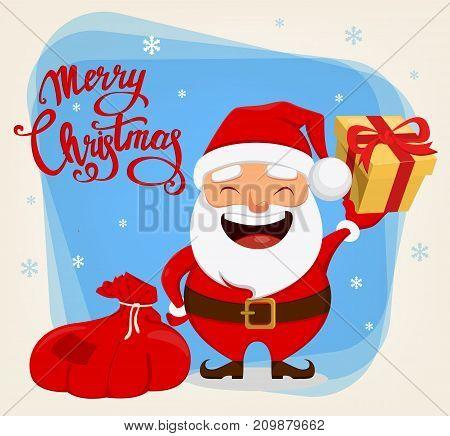 Christmas Santa Claus funny cartoon character. Smiling Santa holding bag with presents and gift box. Vector illustration.