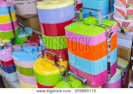 Tiffin Box Or Food Carrier Stack Colorful Bpa Plastic Safety Food Containing Materials Sale In Thail