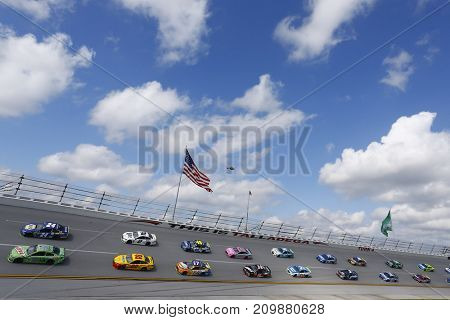October 15, 2017 - Talladega, Alabama, USA: The Monster Energy NASCAR Cup Series races through turn four during the Alabama 500 at Talladega Superspeedway in Talladega, Alabama.
