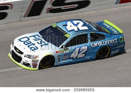 October 13, 2017 - Talladega, Alabama, USA: The car of Kyle Larson (42) brings his car through the turns during practice for the Alabama 500 at Talladega Superspeedway in Talladega, Alabama.