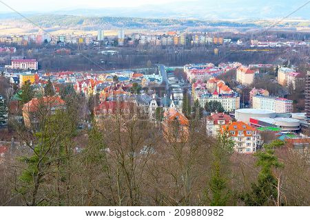 Karlovy Vary, aerial panoramic famous spa town view in Czech Republic