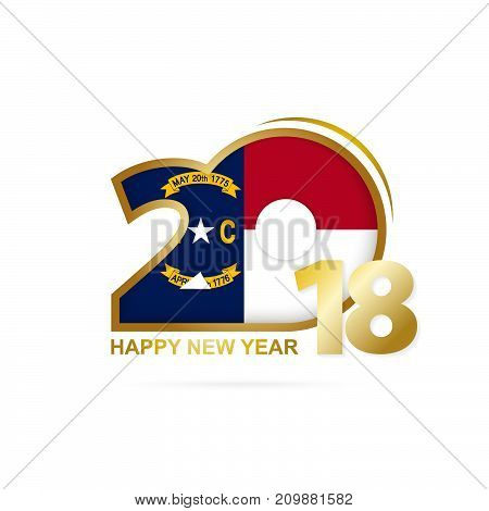 Year 2018 With North Carolina Flag Pattern. Happy New Year Design.