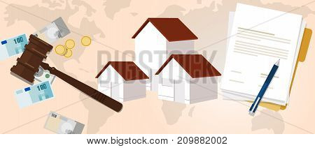 property housing home law gavel wooden hammer justice legal judicial investment money vector