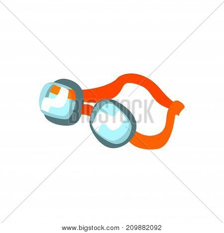 Cartoon swimming plastic goggles with orange clasp. Vacation swimmer attribute. Snorkeling swim accessory in flat style. Travel icon. Vector illustration isolated on white background.