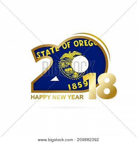 Year 2018 With Oregon Flag Pattern. Happy New Year Design.