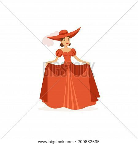 Professional actress of drama theater on stage. Theatrical performance. Dressed in gorgeous medieval red dress and hat. Cartoon actor character. Flat vector illustration isolated on white background.