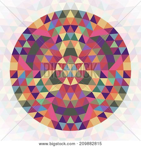 Circular abstract geometric triangle kaleidoscope design symbol - symmetrical vector pattern graphic from colored triangles