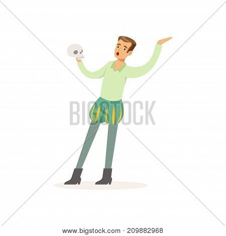 Young actor play in theatrical performance of Hamlet. Man dressed in ancient renaissance costume holding skull. Colorful cartoon male character. Vector illustration in flat style isolated on white.