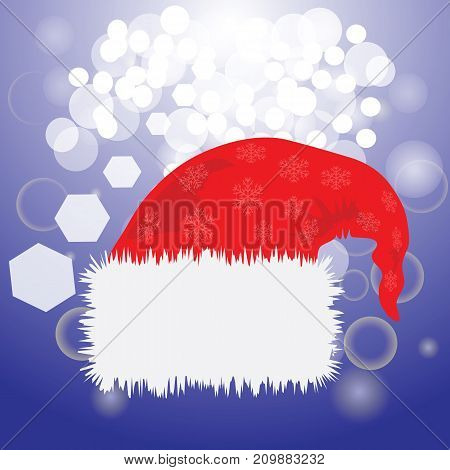 colorful illustration with Santa Claus red hat for your design