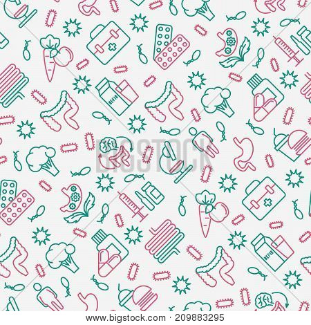 Gut flora seamless pattern with thin line icons: gut, bacteria, obesity, stomach, infection, depression, medicine. Vector illustration for medical survey or report.