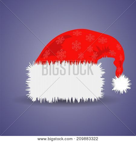 Santa Claus Red Hat Isolated on Blue Background