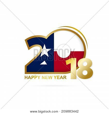 Year 2018 With Texas Flag Pattern. Happy New Year Design.
