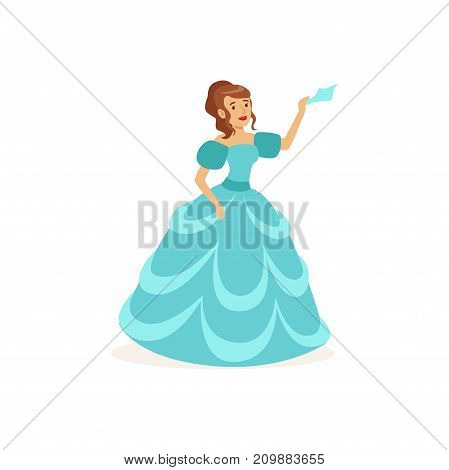 Young actress play in theatrical dramatic performance, waving by shawl. Dressed in gorgeous blue dress. Colorful cartoon actor character. Vector illustration in flat style isolated on white background