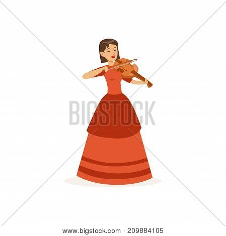 Young woman violinist in beautiful red dress performing musical composition on stage. Professional at work. Colorful cartoon musician character. Vector illustration in flat style isolated on white.