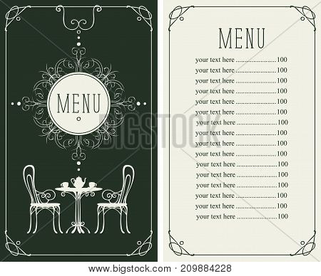 Vector menu for restaurant or cafe with a price list and a table chairs and tea in a curly frame in the art Deco style