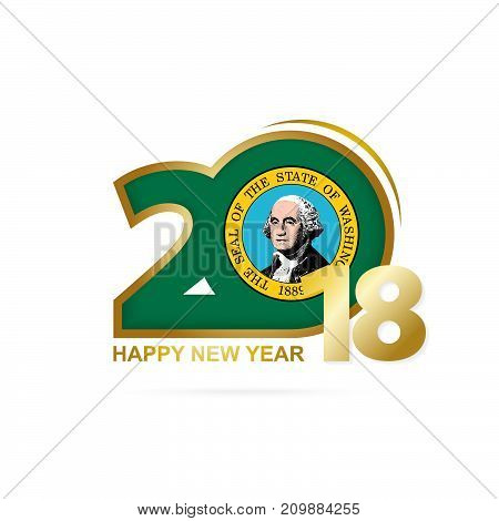 Year 2018 With Washington Flag Pattern. Happy New Year Design.