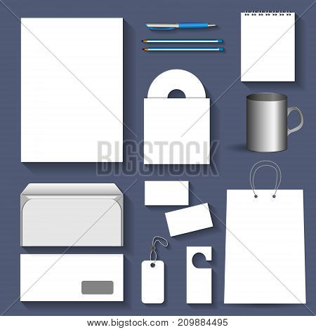 Blank corporate objects (bag, card,cd, label, paper, notepad, mug, envelope) for business style. Vector illustration