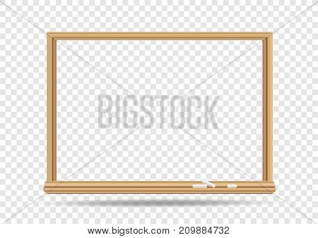 School blackboard on transparent background. Classroom chalkboard hole template with shadow