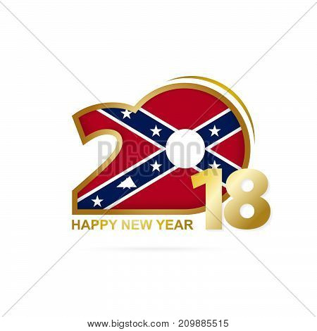 Year 2018 With Confederate Flag Pattern. Happy New Year Design.
