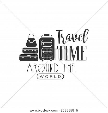 Time to travel. Tour operator label with suitcases and bag. Creative black and white typographic design logo for tourist agency. Vector illustration in flat style isolated on white background.