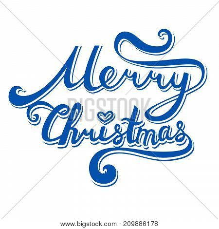 Merry Christmas Inscription. Hand Drawn Lettering With Curves. Calligraphy Script On White Backgroun
