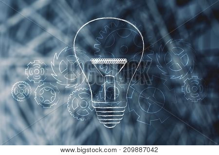 Light Bulb With Gearwheels Overlay Over Unfocused Digital Network Background