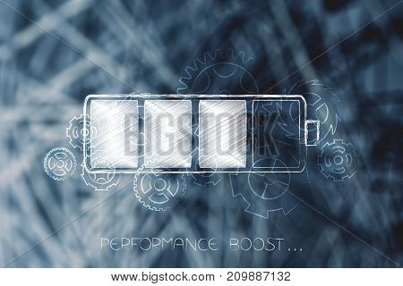 Battery With Gearwheels Overlay Over Unfocused Digital Network Background