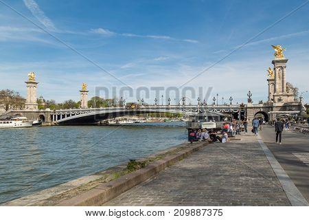 Paris, France, March 30 2017: Alexandre III Bridge, Paris France