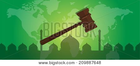 sharia Islam law justice verdict case legal gavel wooden hammer crime court auction symbol vector