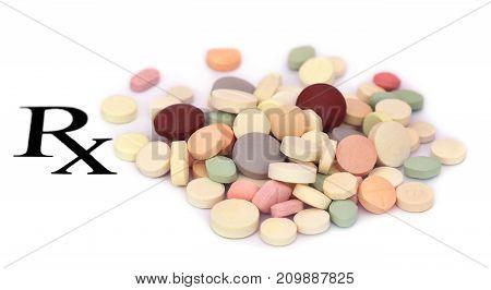 Tablets prescribed as medicine over white background