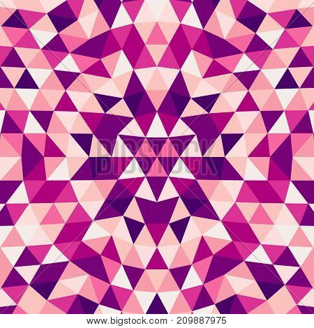 Round abstract geometrical triangle kaleidoscope mandala background - symmetric vector pattern graphic art from color triangles