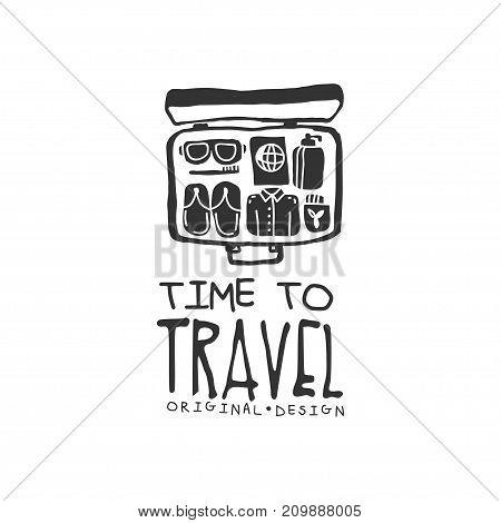 Time to travel. Tour operator label with traveler suitcase and accessories. Black and white typographic design logo for tourist agency. Vector illustration in flat style isolated on white background.