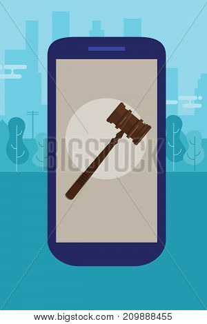 online mobile legal advice consultation smart phone law wooden hammer gavel justice legal authority case verdict law suit vector