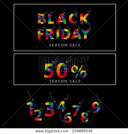 Pre-black Friday Sale banner with abstract elements. A bright, beautiful inscription with confetti and stars on a black background. And the collection of all numbers from 0 to 9. vector illustration