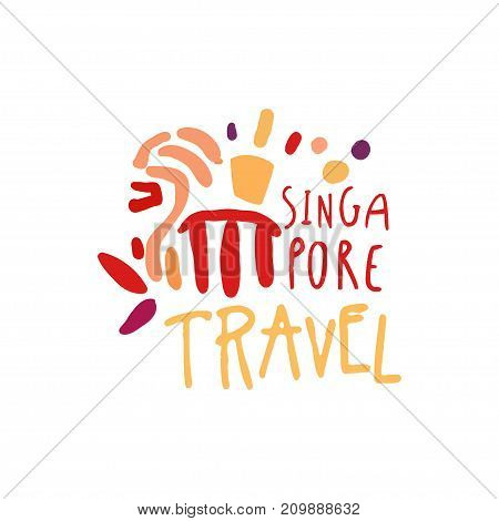 Travel and tourism logo concept for agency or tour operator. Handwritten lettering. Kids doodle of Singapore Marina Bay Sands landmarks for vacation or holidays. Hand drawn vector isolated on white
