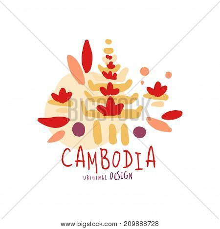 Travel and tourism logo concept for agency or tour operator. Handwritten lettering. Kids doodle of Cambodia Angkor Wat for summer vacation or holidays. Hand drawn city temple vector isolated on white
