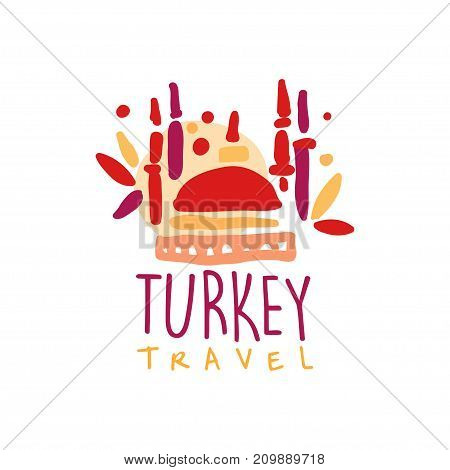 Travel and tourism Turkey logo concept for agency or tour operator. Handwritten lettering. Doodle of traditional Turkish mosque for summer vacation or holidays. Hand drawn vector isolated on white