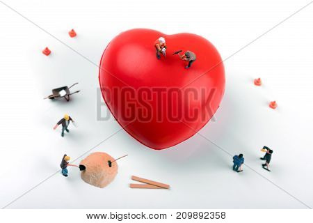 heart health and treatment concept. top view on white background