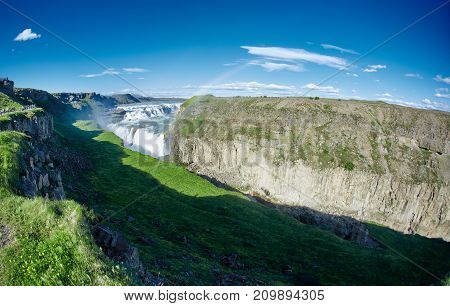 famous Gullfoss waterfall in southern Iceland. treking in Iceland. Travel and landscape photography concept