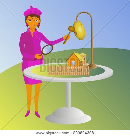 Property valuation vector concept illustration. Woman with magnifying glass looking for a house