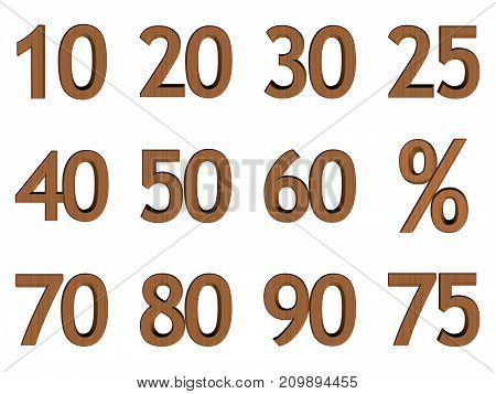 illustration with percent sign and numerals in wooden texture
